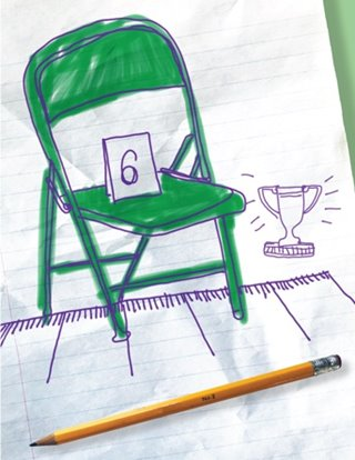 Annual Putnam Spelling Bee Show Art: A green folding chair on a stage beside an oversized pencil