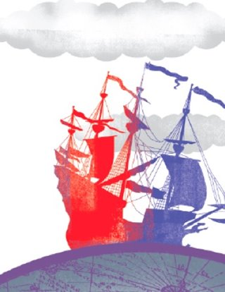 Candide show art: A red and purple clipper ship sails across a globe