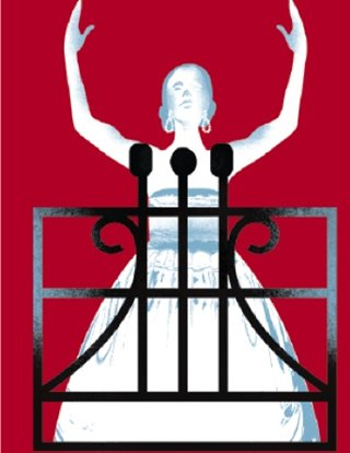 Evita show art: The lead character holds her arms up as she stands on a balcony