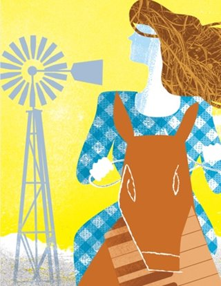 Oklahoma! show art: A woman rides a horse in front of a rustic background